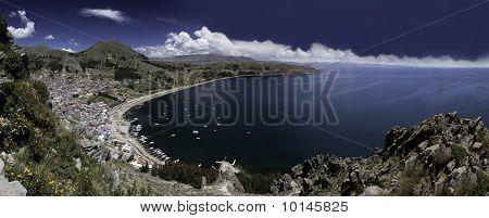 Lake Titicaca Copacabana Bay Blue Sky And Water