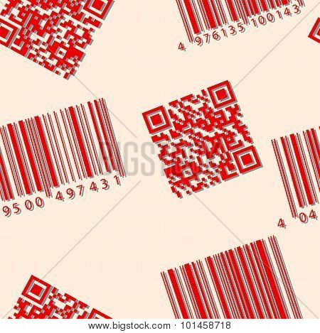 Barcode and qr-code. Seamless vector wallpaper.