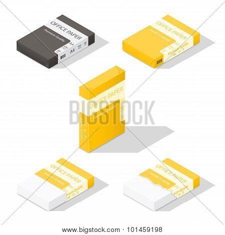Paper For Copier Isometric Icon Set
