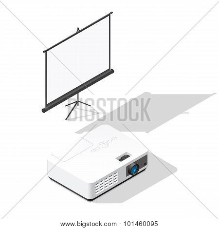 Projector And Screen Isometric Icons Set