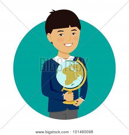 Schoolboy holding globe