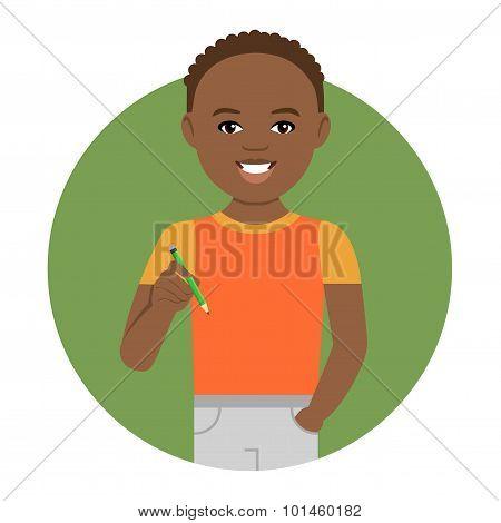 Schoolboy with pencil