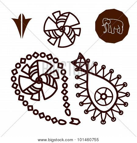 Henna Indian Tattoo Doodle Elements