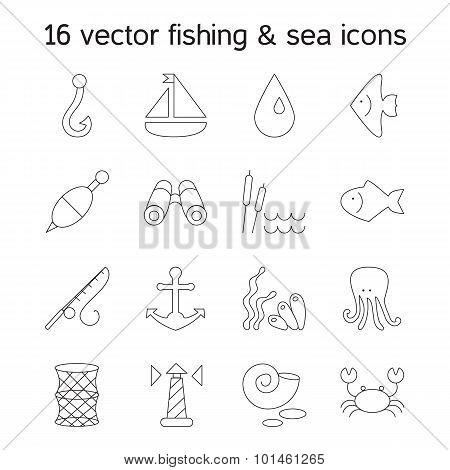 Isolated Marine And Fishing Icons Set
