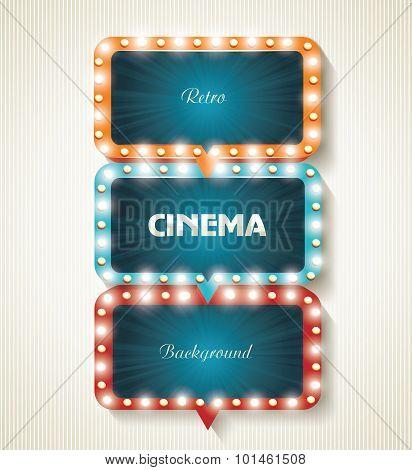 Cinema Banners With Light Bulbs. Vector Cinema Background.