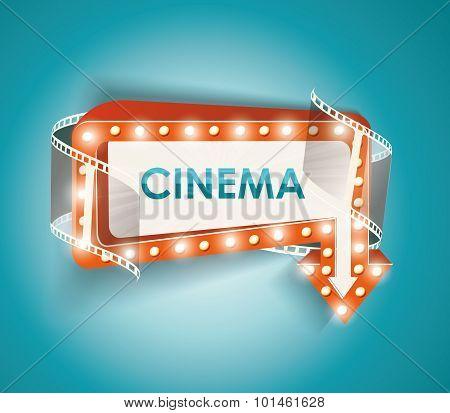Cinema Sign With Light Bulbs. Vector Cinema Background.