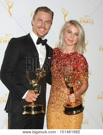 vLOS ANGELES - SEP 12:  Derek Hough, Julianne Hough at the Primetime Creative Emmy Awards Press Room at the Microsoft Theater on September 12, 2015 in Los Angeles, CA