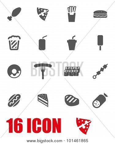 Vector Grey Fastfood Icon Set