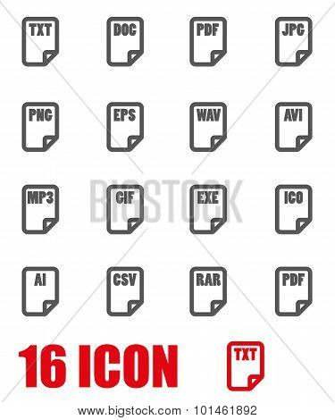 Vector Grey File Type Icon Set