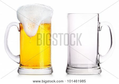 Frosty glass of light beer and empty one