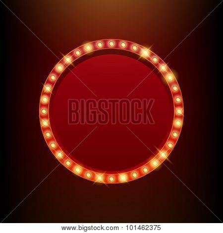 Light bulbs vintage neon glow frame vector illustration.
