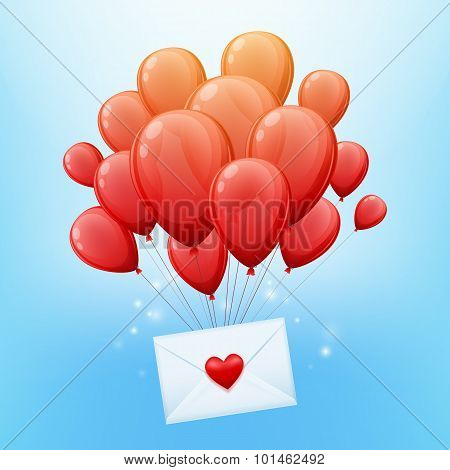 Bunch or red balloons with love letter envelope.