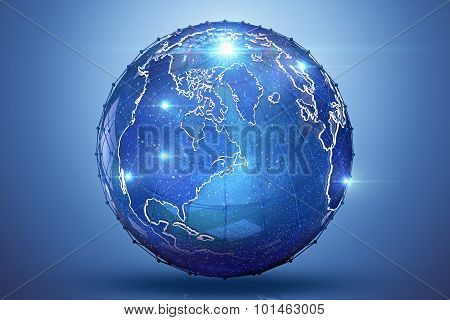 Blue Earth 3D Render With Light Lens Flares