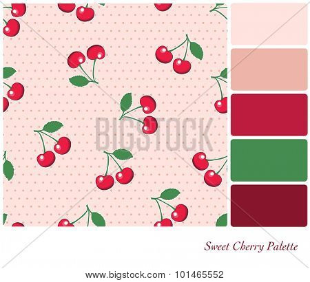 Sweet, red cherries, on retro style pink polka dot background. Seamless design set in a colour palette with complimentary colour swatches.