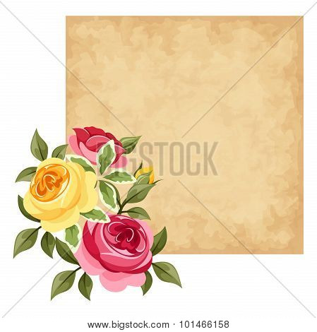 Vector parchment card with red and yellow roses.
