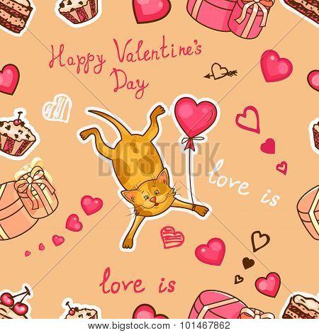 happy valentines cat