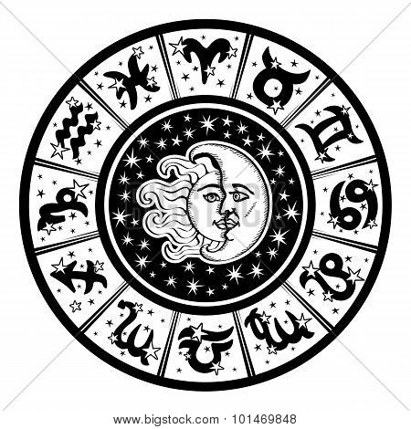 Horoscope circle.Zodiac sign,moon,sun.Black,white