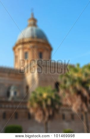 Italy. Sicily Island. Palermo City. Cathedral At Sunset. In Blur Style