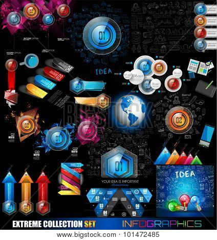 Infographic Mega Collection: Glossy Button icons. A lot of design elements are included: computers, mobile devices, desk supplies, stats, graphs, documents and so on
