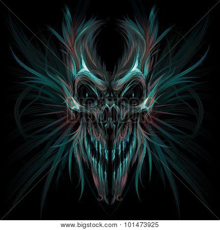 Dark screaming skull. Vector illustration