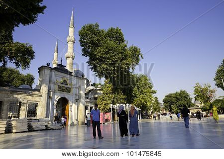 Tourists And Turkish People Walking Near The Eyup Sultan Mosque Istanbul Turkey