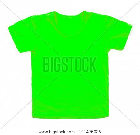 Kid green tshirt on white background.
