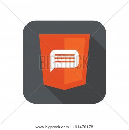 Vector illustration of orange shield with html five message sign, isolated web site development icon