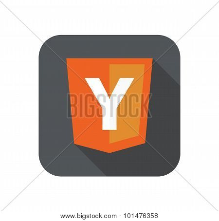 vector illustration of web development shield sign Y php framework yii. isolated icon on white backg