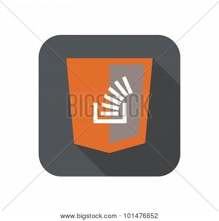 Vector illustration of web development shield sign showig stack data type, isolated icon on white ba