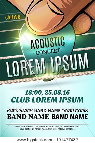 Vector Template Of Modern Poster For A Acoustic Concert Or A Rock Festival