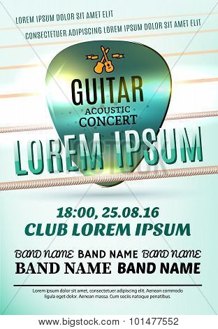 Vector Template Of Modern Poster For A Guitar Acoustic Concert Or A Rock Festival