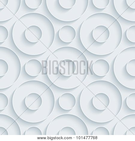 Circles. White paper with outline extrude effect. Abstract 3d seamless background.