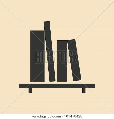 Flat in black and white mobile application book shelf
