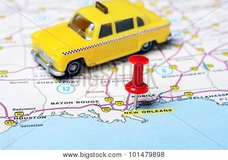 New Orleans  Usa Map Taxi