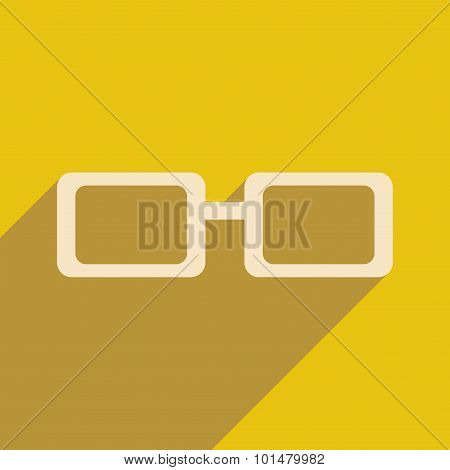 Flat with shadow icon and mobile application spectacles