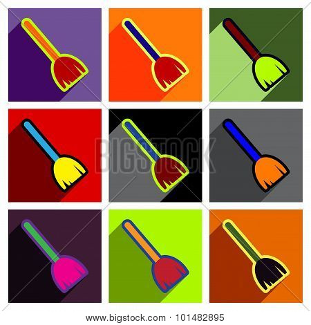 Flat with shadow concept Icon broom bright background