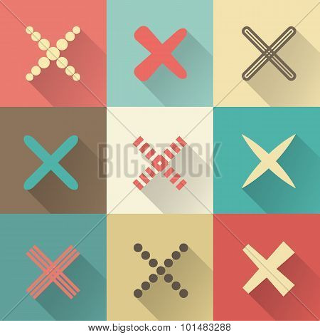 Set of different retro  crosses and tics