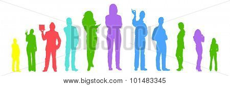 Many Vector Silhouettes Many People
