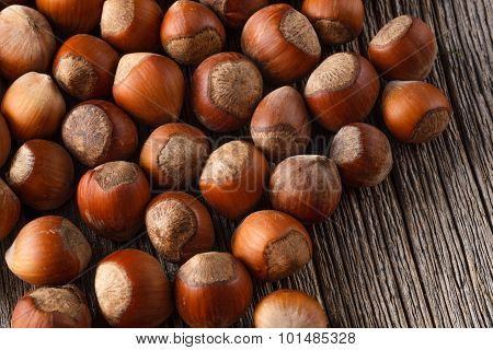 Hazelnuts On Rustic Wooden Table
