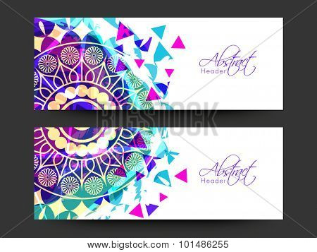 Colorful traditional floral design decorated abstract website header or banner set.