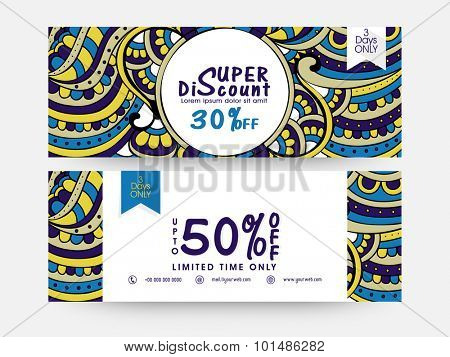 Creative traditional floral decorated, Sale website header or banner set with 50% discount offer for limited time only.