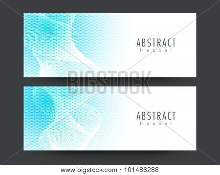 Stylish website header or banner set with creative blue abstract design.