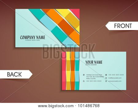 Colorful abstract paper stripes decorated, horizontal business card, name card or visiting card set for your company and organization.