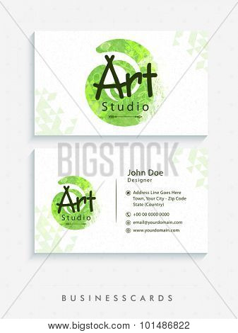 Front and back side presentation of horizontal business card or visiting card set with proper space for your professional details.