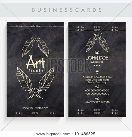 Front and back side presentation of vertical  business card or visiting card set in chalkboard style.