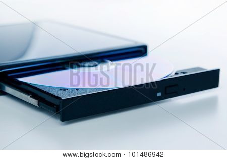 External Optical Disc Writer. Compact Device Connected Via Usb Port