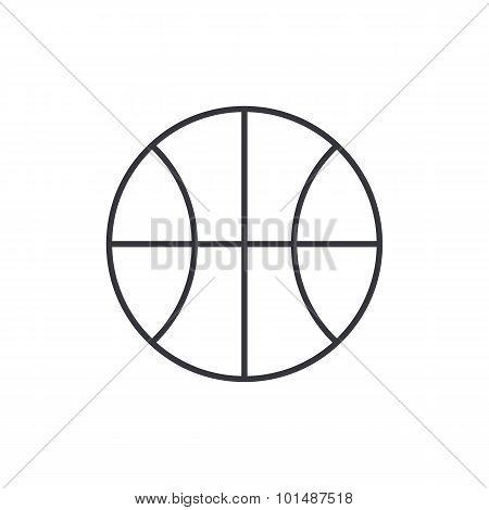 Basketball ball outline icon, modern minimal flat design style, thin line vector symbol
