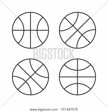 Basketball ball outline icons, modern minimal flat design style, thin line vector icon set