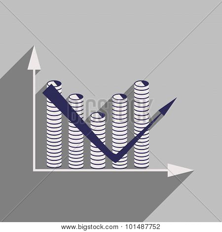Flat with shadow icon Economic graph and coins