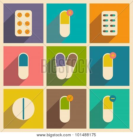 Flat with shadow concept and mobile application pharmaceutical drugs